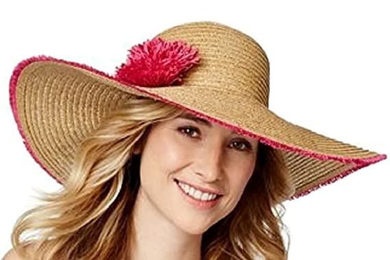 3cec2e04621 Image Unavailable. Image not available for. Color  Nine West Wide Brim Packable  Floppy Straw Hat ...