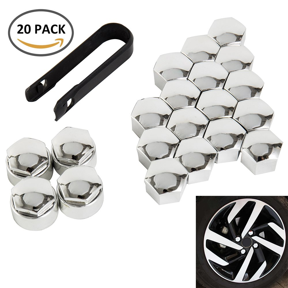 WarmCare 20 Pcs Wheel Lug Nut Bolt Cover Caps New Universal 17mm with Removal Tools for Audi VW Vauxhall BMW Mercedes Ford Peugeot Silver