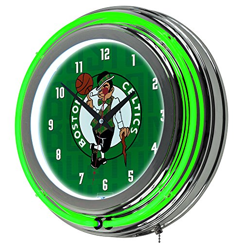 Trademark Gameroom NBA1400-BC3 NBA Chrome Double Rung Neon Clock - City - Boston ()