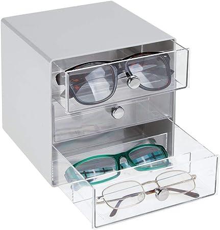 mDesign Cajas para gafas de sol – Cajoneras de plástico con 3 compartimentos – Organizador de armarios para guardar todo tipo de gafas – transparente y gris: Amazon.es: Hogar