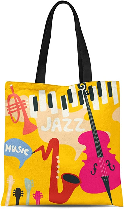Musical Jazz Canvas Top Handle Tote Bag Shoulder Bag Handbag for Women