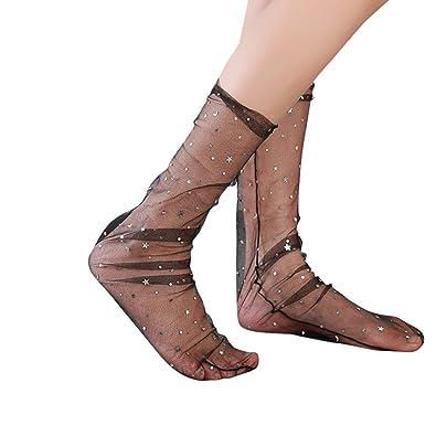 Womens Fish Net Socks - Trendy Girls Glitter Star Elastic Ankle Socks Transparent Mesh Socks