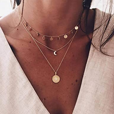 Dainty disc chain choker on 14K gold filled perfect for layering Gold adjustable choker sequin chain style stackable necklace Gift for her