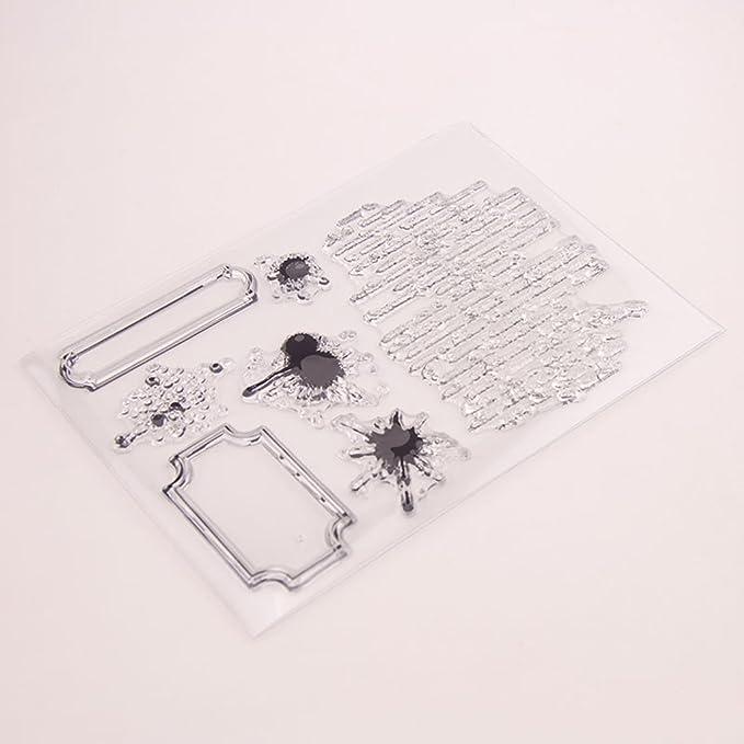 Sello de pl/ástico Palabras Sello con Forma de Mariposa para el Bricolaje Scrapbooking /Álbum Artesan/ía Decoraci/ón xuew Claro Sello