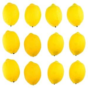 meizhouer 12 Pcs Artificial Lemons Fruit Model Fashion Fake Lemon House Kitchen Party Decoration