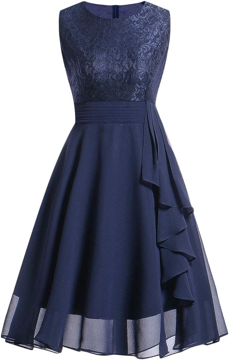 DIDK Damen Kleider Elegant Knielang Vintage A Linie Spitzenkleid Rockabilly Cocktailkleid Ärmellos mit Rüschen