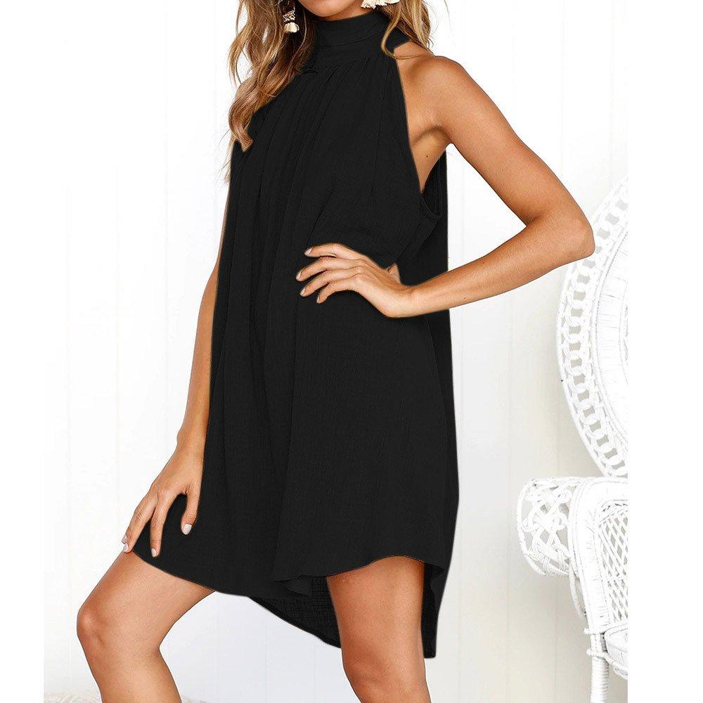 Corriee Ladies Summer Halter Party Dress Womens Stylish Solid Color Irregular Hem Beach Dress