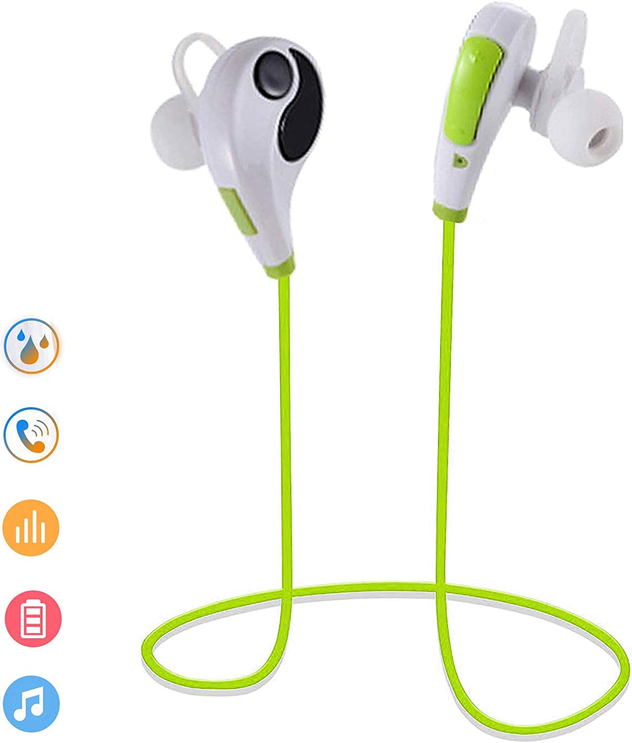 Bluetooth Headset Wireless Stereo Headphone in Ear Earbuds Long Talking Time Earphone Handsfree Call Microphone for Cell Phones Samsung Galaxy S9 S8 S7 Edge S6 Note 9 8 Huawei Honor 20 Lg G6 G7