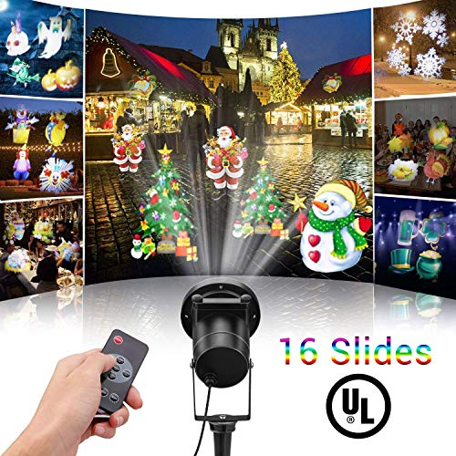 Misika Led Christmas Projector Light Outdoor 2018 Newest Version,Bright Led Holiday Landscape Spotlight with 16 Slides Multicolor Dynamic Lighting Show for Halloween Party Decoration Lampm