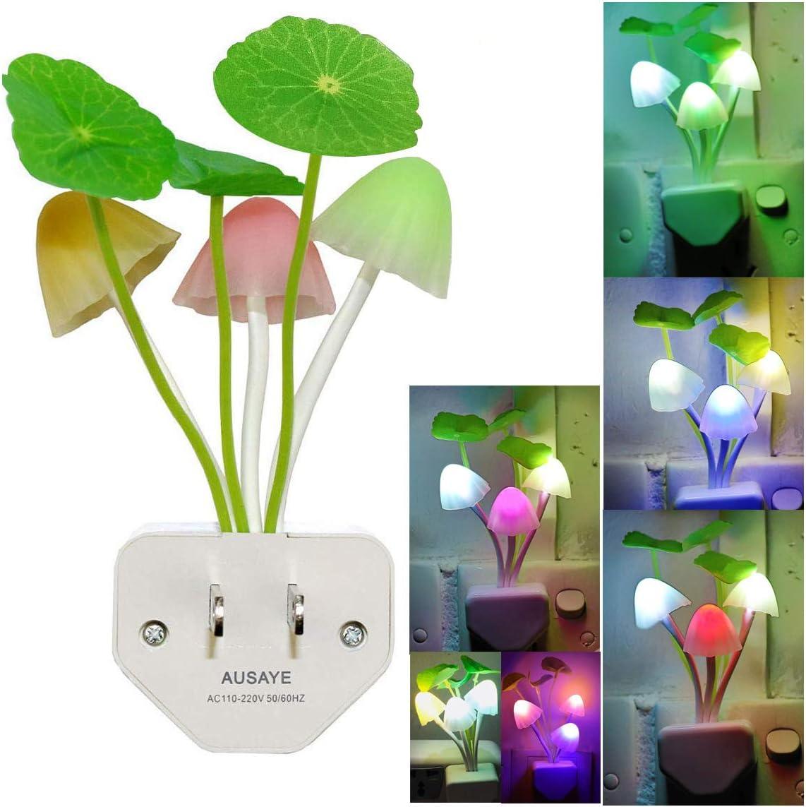Led Night Light w/Smart Sensor,AUSAYE 0.6W Plug-in Night Lights for Kids Adults Cute Mushroom Night Light Bedroom Home Decor Light Wall Lamps NightLight