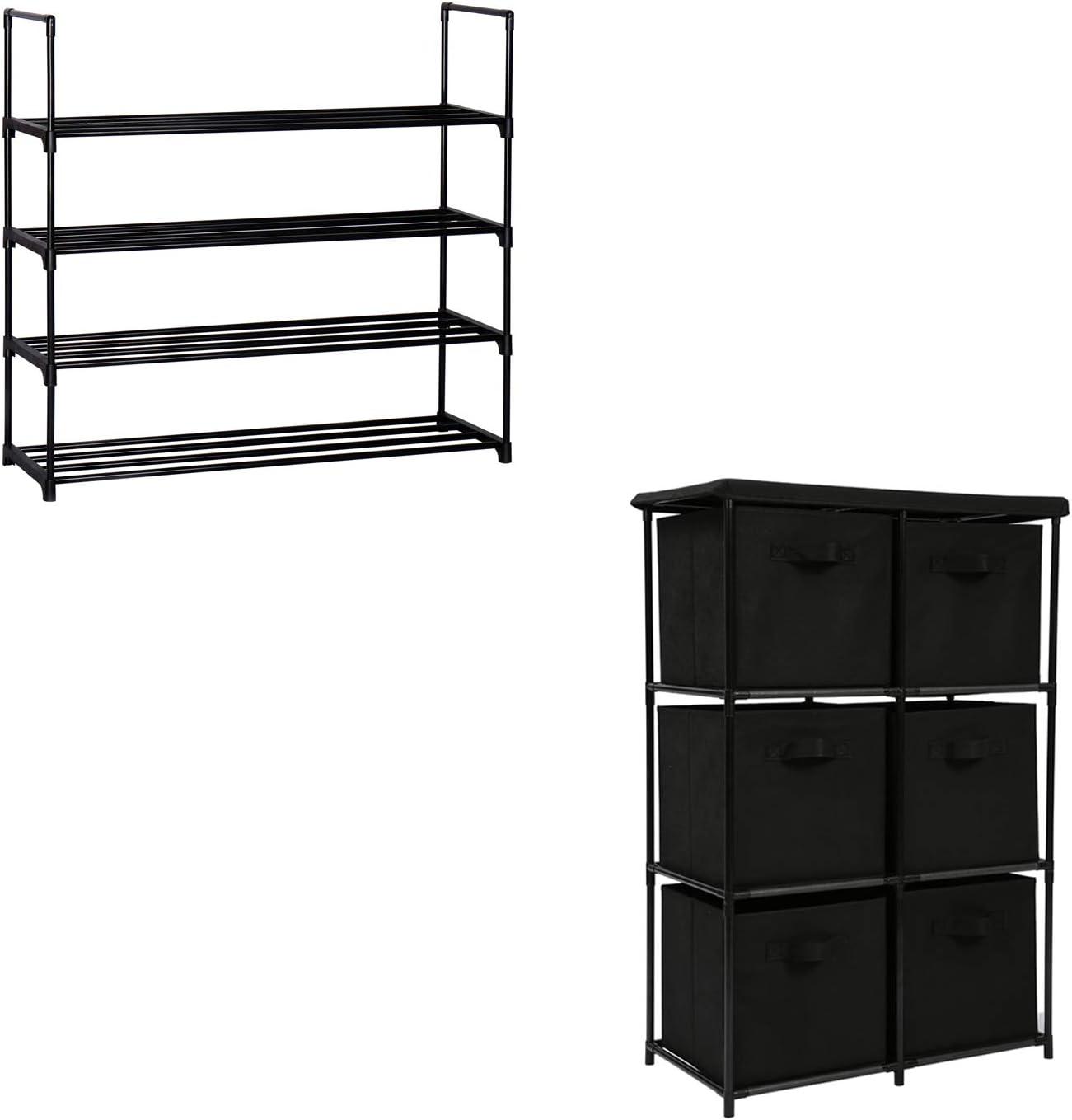 Function Home 4-Tier Shoe Rack & 6 Drawer Storage Organizer