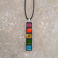 Rainbow Stained Glass Mosaic Geometric Pendant Necklace