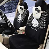 Universal Car Seat Covers Black 18pcs Ice Silk Fashion Cartoon Car Seat Covers Gear Shift Cover