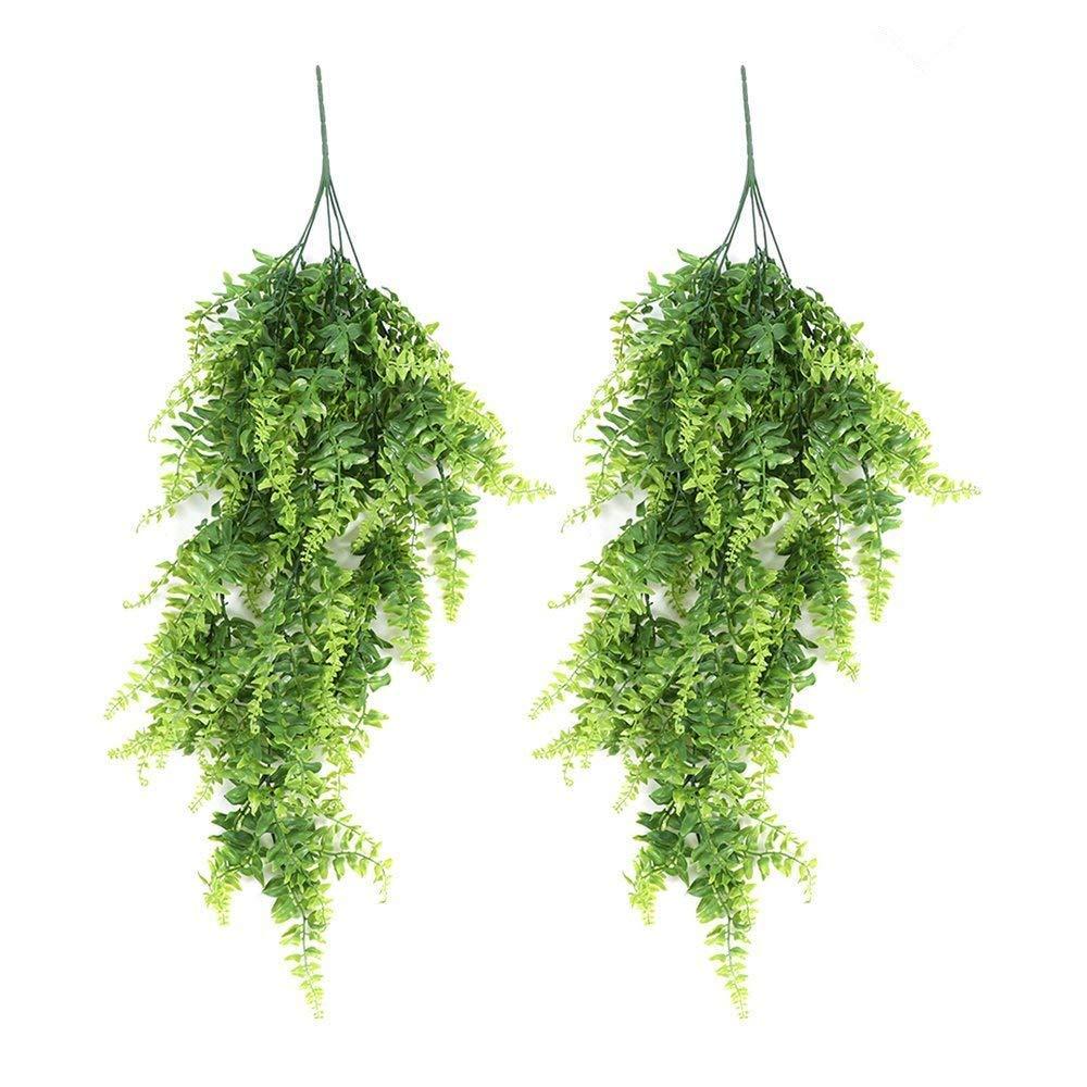 人工ルビーフェイク つるつる植物 人工プラスチック 緑 植物 花 つるつる 家庭 壁装飾 屋内外吊り下げバスケット 2 Pack グリーン WI678051×2-937-1245189221 B07FZW91R5  2 Pack