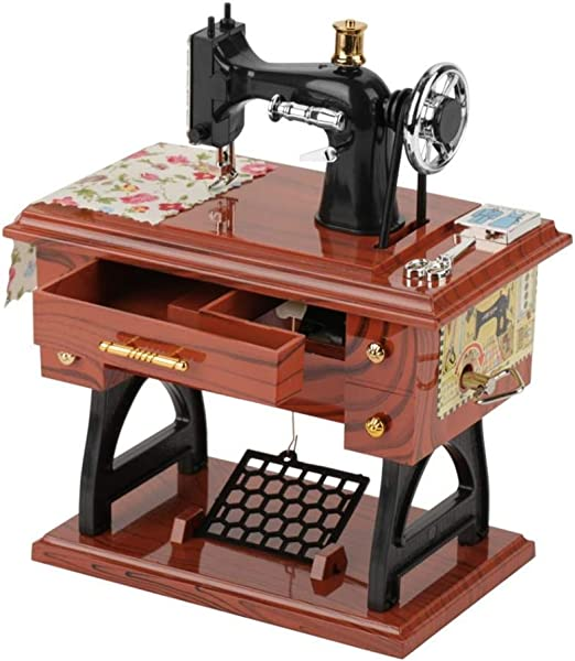 Cajas de música de madera de máquinas de coser vintage, caja musical de cuerda clásica pura a mano, juguetes musicales, melodía, caja de madera musical vintage Regalos para cumpleaños: Amazon.es: Hogar