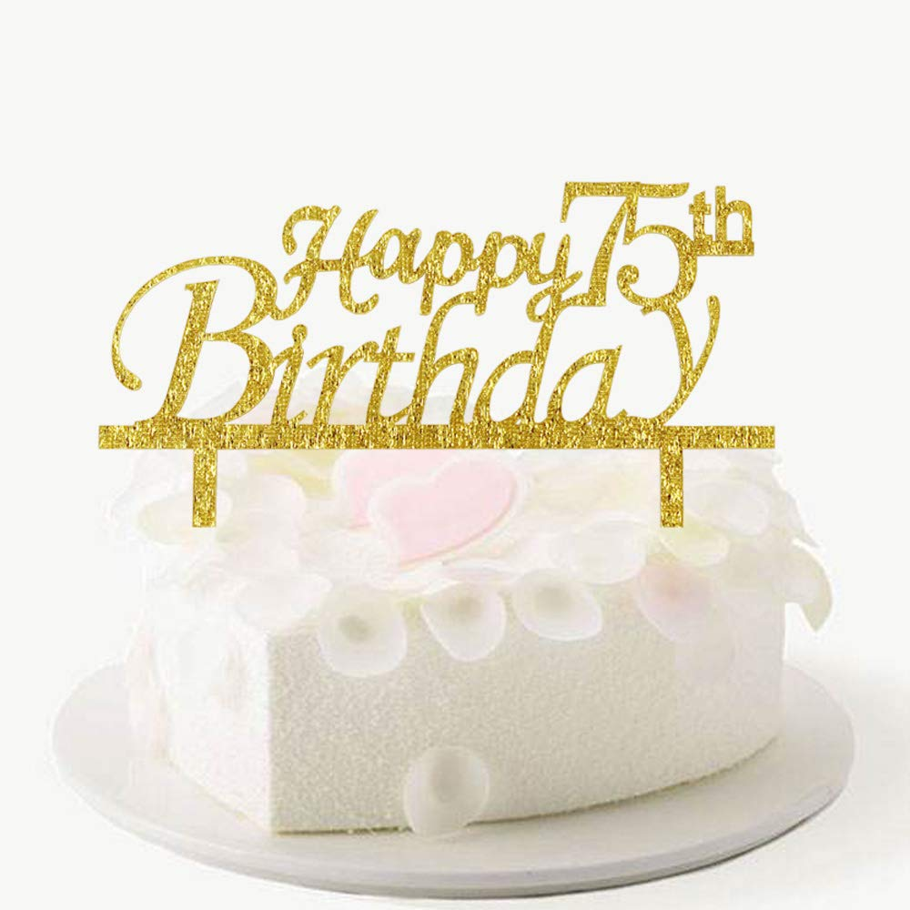 Happy 75th Birthday Cake Topper Gold Acrylic Party Decorations Amazon Grocery Gourmet Food
