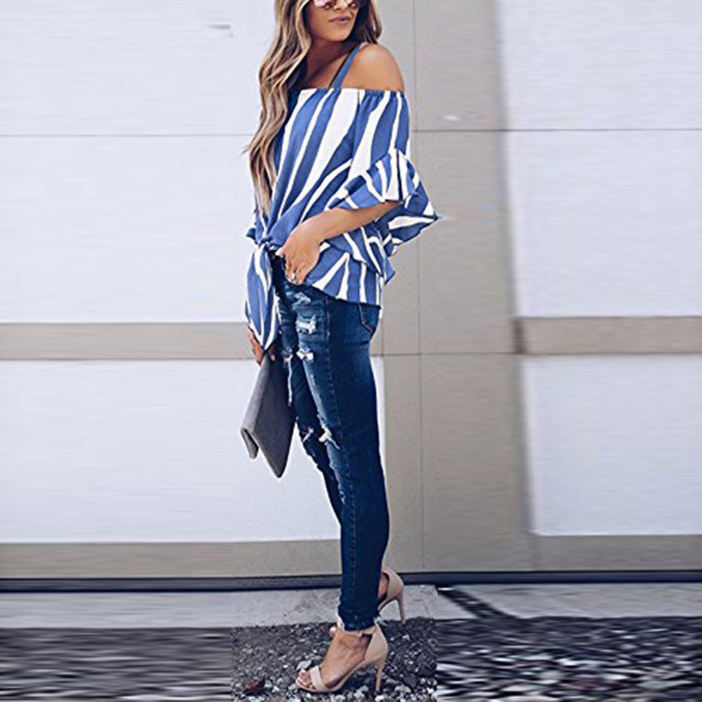 Gessppo Women Cold Shoulder Tops Striped Spaghetti Strap Shirt Tie Knot Casual Blouse at Amazon Womens Clothing store: