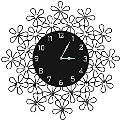 """LuLu Decor, 23.5"""" Daisy Metal Wall Clock, 11"""" Black Glass Dial with Arabic Numerals, Decorative Night Dial Clock for Living Room, Bedroom, Office Space"""