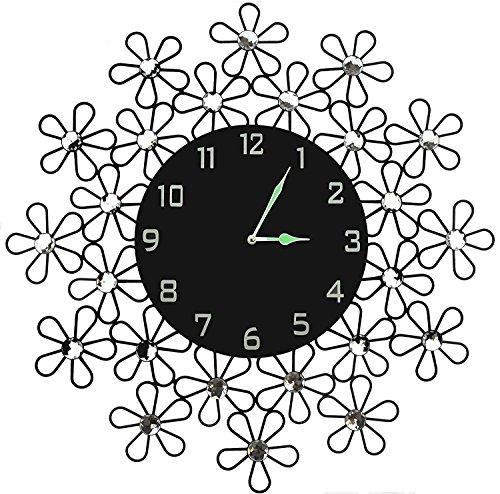 Lulu Decor Daisy Wall Clock, Decorative Metal Wall Clock, Bl