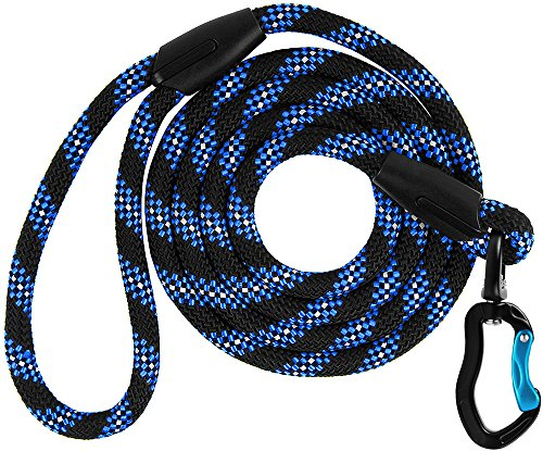 BronzeDog Rope Dog Leash 6 ft, Heavy Duty Mountain Climbing Lead with Carabiner Snap Lock, Reflective Outdoor Training Leashes for Medium and Large Dogs (M/L, Blue)