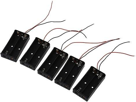 Nrpfall - 5 Cajas de Soporte para Pilas 18650 (2 x 3,7 V): Amazon.es: Electrónica