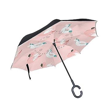 SKYDA Paraguas invertido Doble Capa, Paraguas Plegable, Rosa, Flamenco, Flotador y Unicornio