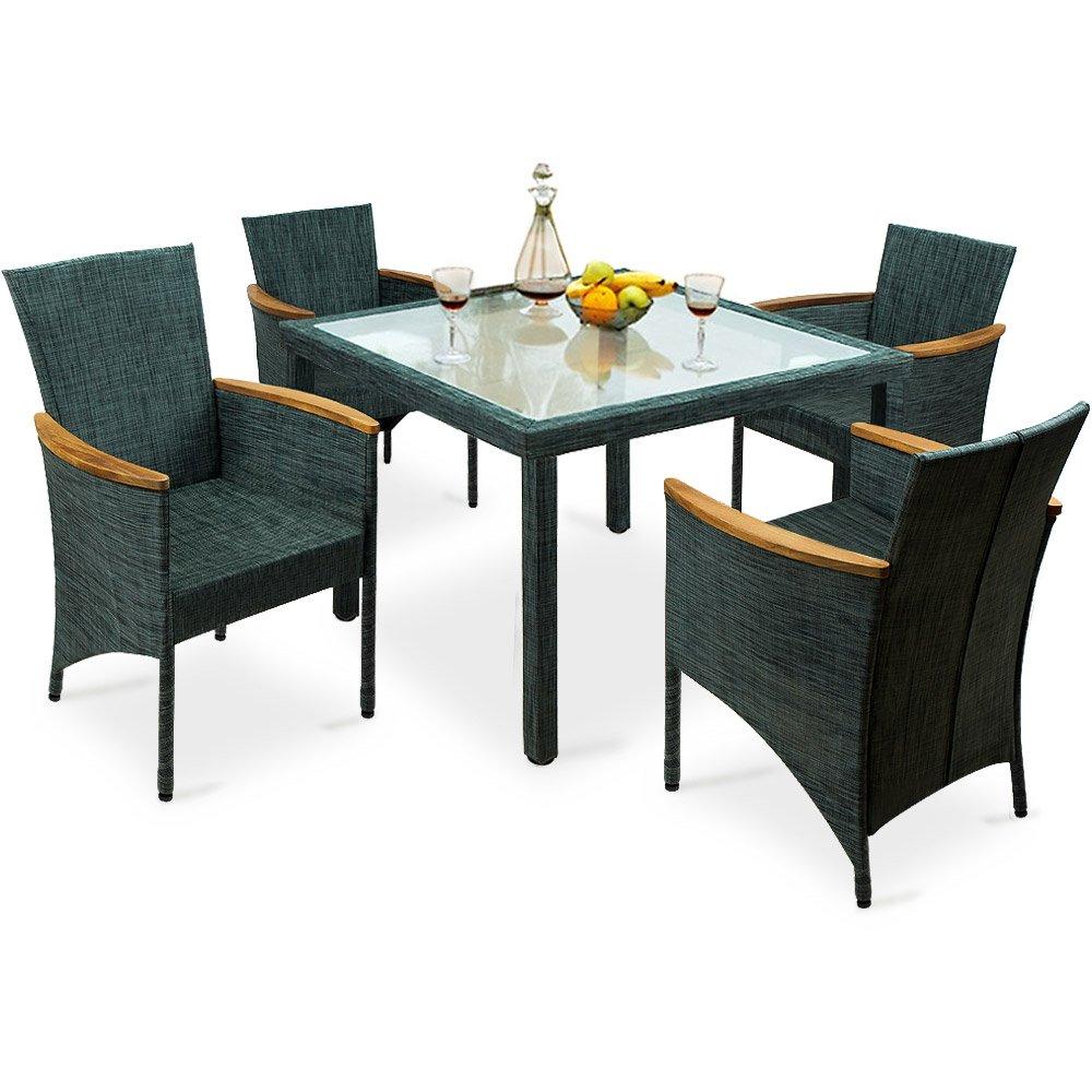 9 tlg. Sitzgarnitur mit textilenem Bezugsstoff - Glastisch - Holzarmlehnen