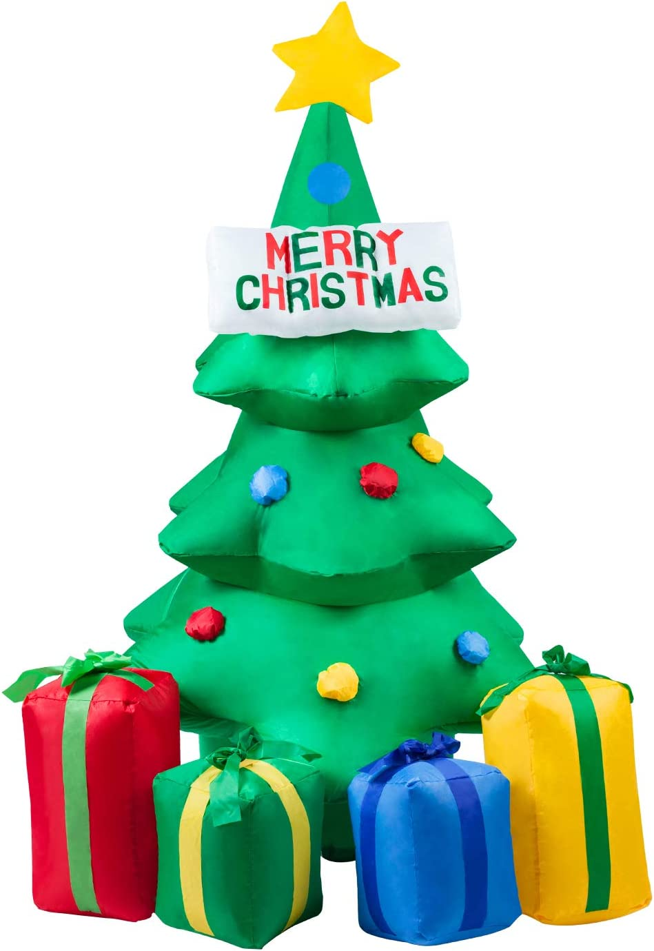Christmas Inflatables Tree, 5Ft Christmas Decorations Outdoor Inflatable Christmas Tree Blow Up Christmas Decorations LED Lights Fan Tethers Stakes for Outdoor, Yard Decor, Garden, Lawn