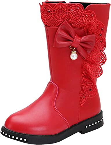 Child Kids Girls Knee High Winter Warm Boots Pom Fur Lined Zip Up Shoes All Size