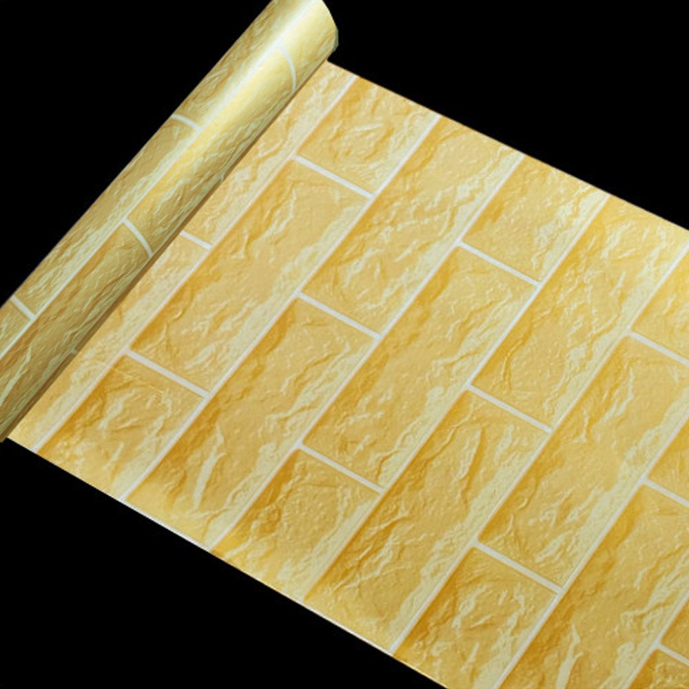 LoveFaye Gold-Yellow Brick Pattern Contact Paper Self-Adhesive Shelf Liner Removable Vinyl Wall Art 17.7inch by 13 Feet 400793