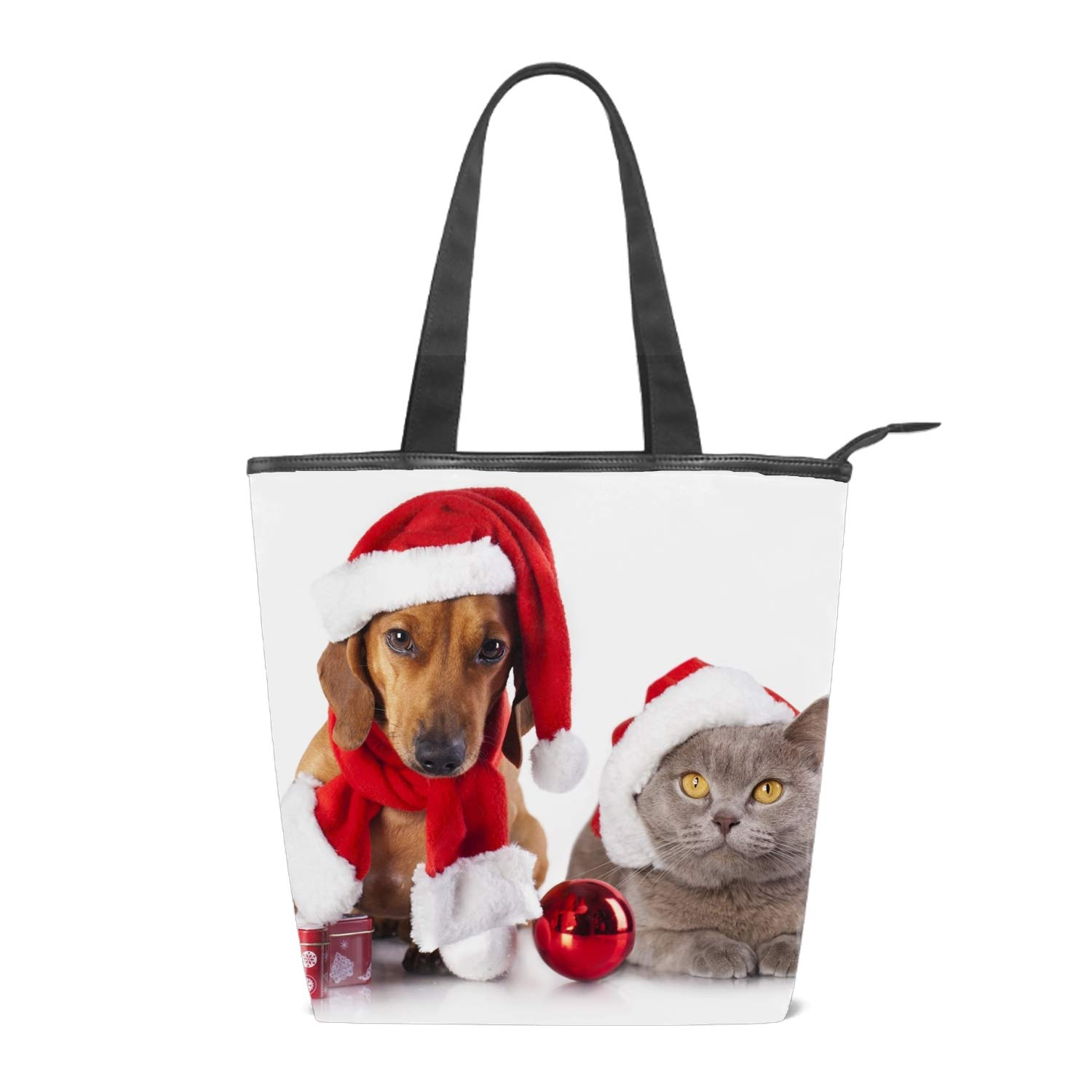 Womens Canvas Shoulder Tote Handbag Funny Santa Claus Reindeer Travel Handbags for Shopper Daily Purse Tote Bag