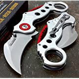 "Tactical assisted Folding Pocket Knife 5"" closed Silver handle"