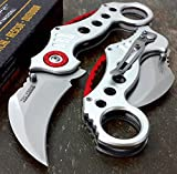 Tactical assisted Folding Pocket Knife 5' closed Silver handle