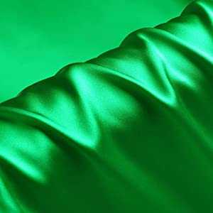 Emerald Green 100% Pure Silk Fabric Solid Color Charmeuse Fabrics by The Pre-Cut 1 Yard for Sewing Width 44 inch