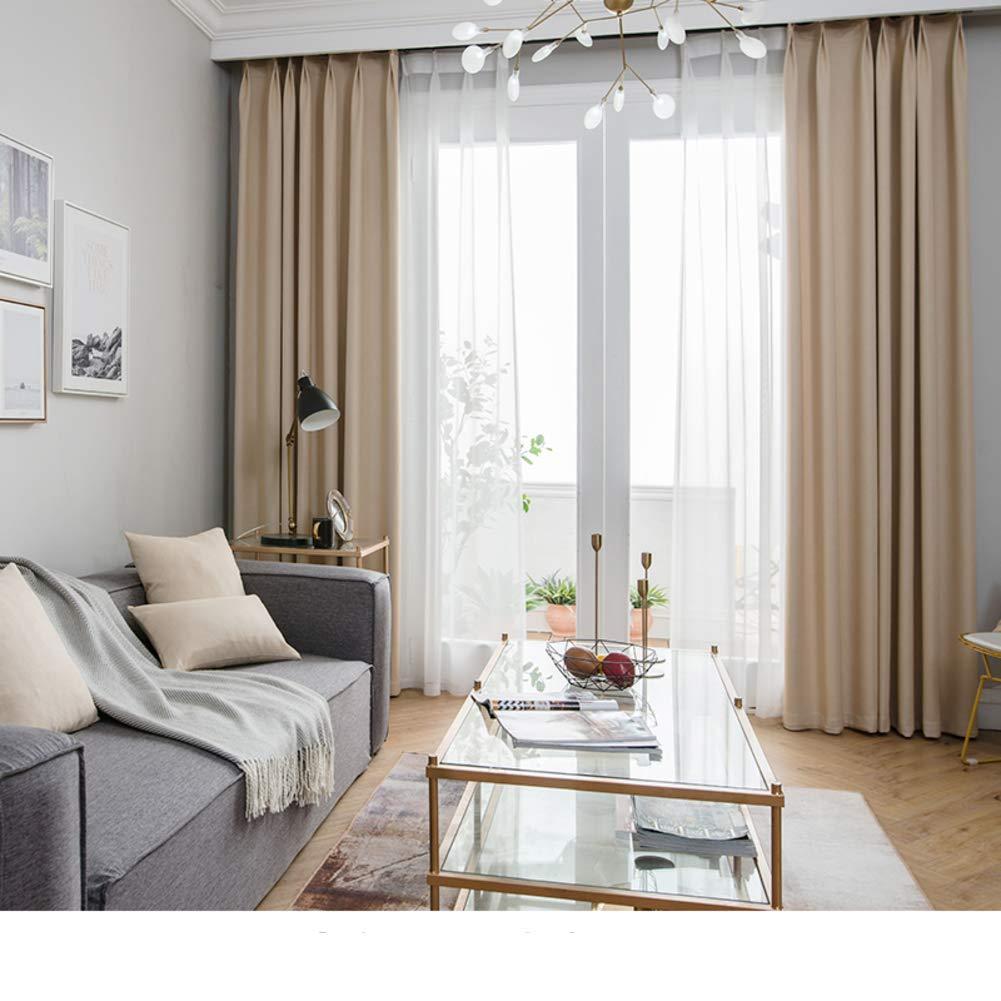 WWBB Vorhänge,Einfache Moderne Nordische Blackout vorhänge,Schlafzimmer Wohnzimmer Balkon Rollo gardinen,Sonnenschutz gardinen-Beige 200x270cm(79x106inch) VersionA