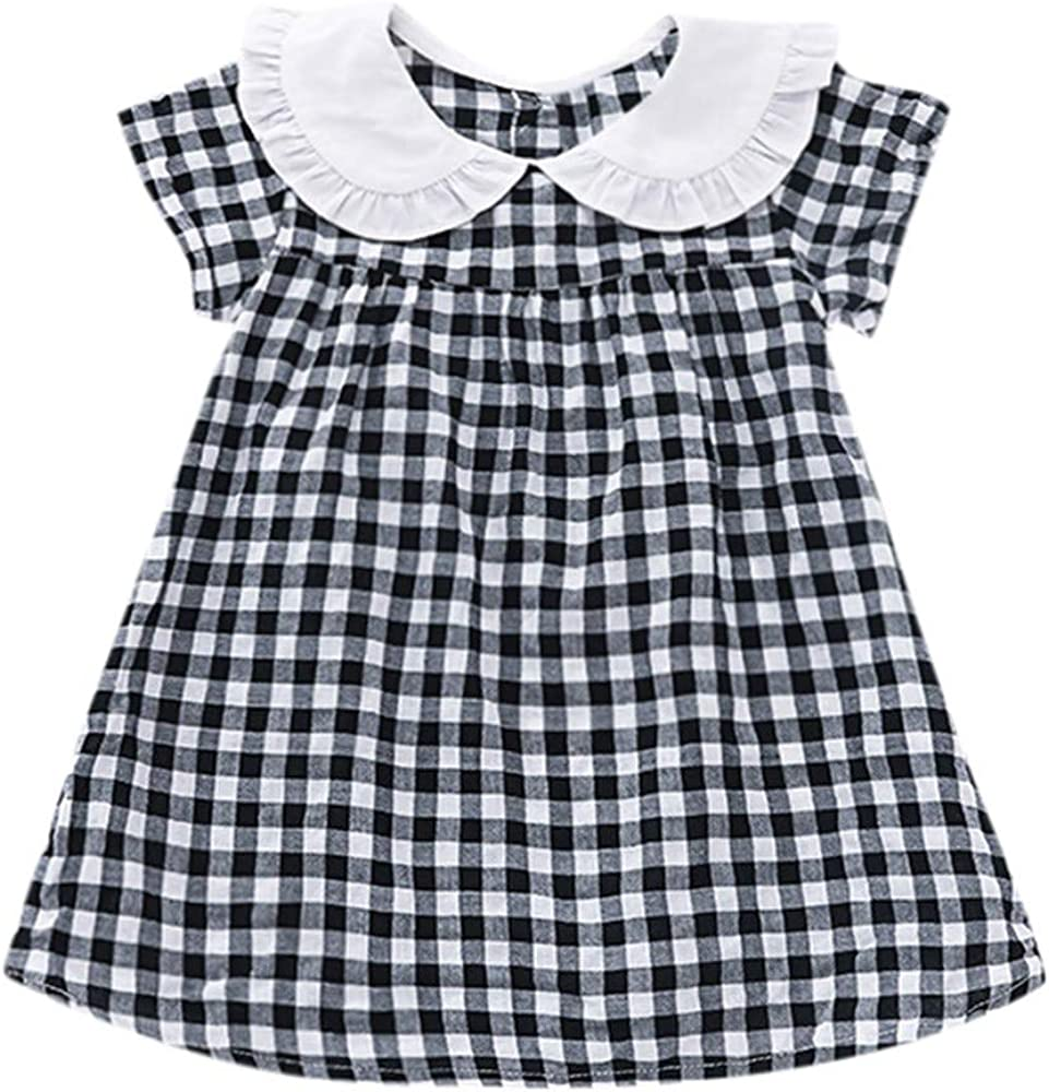N// A Kids Girl Summer Ruffle Sleeve Casual Dress Plaid Party Short Dress
