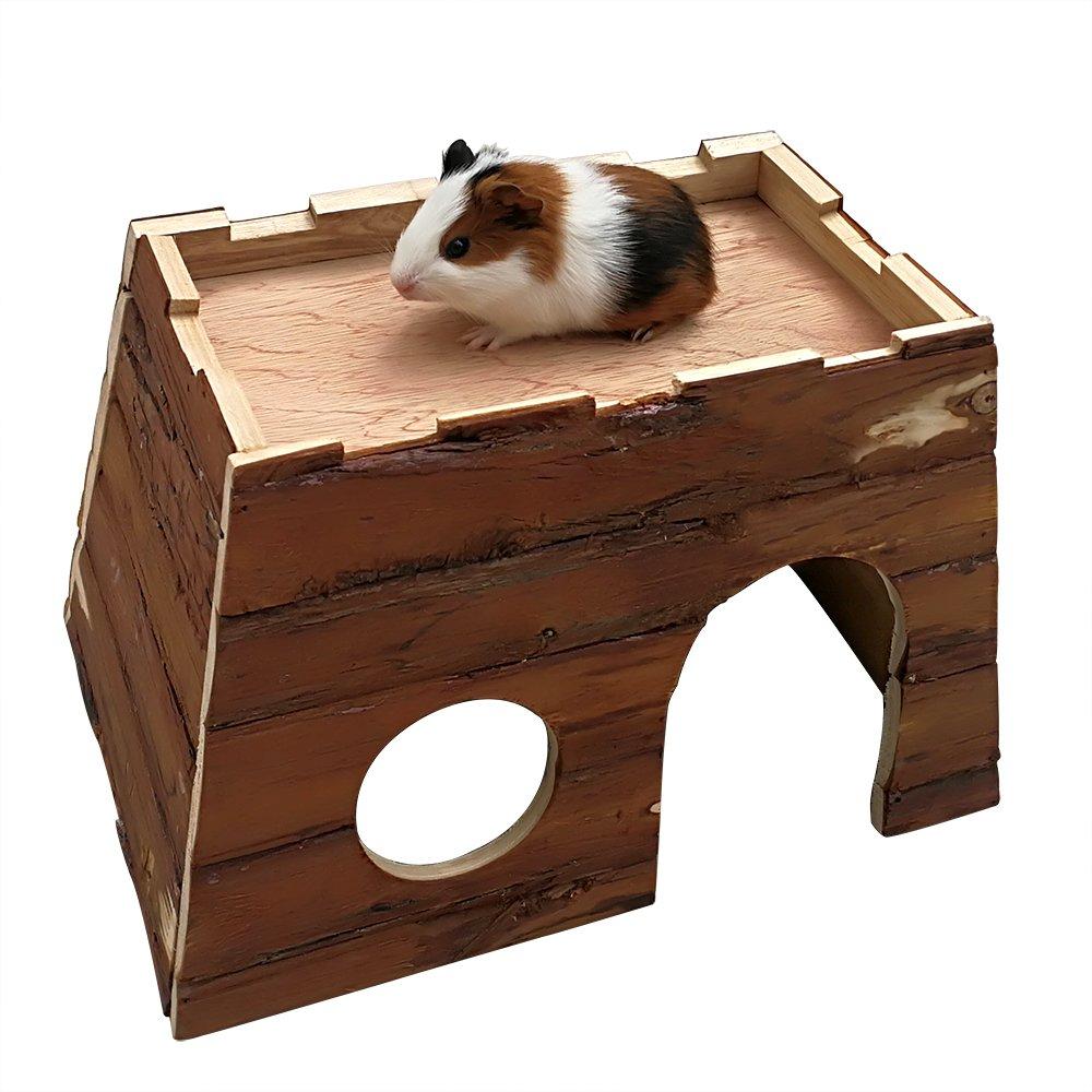 B&P Pet Hideout for Guinea pigs Ferrets Hamster Immature rabbit Castle Style Wooden House