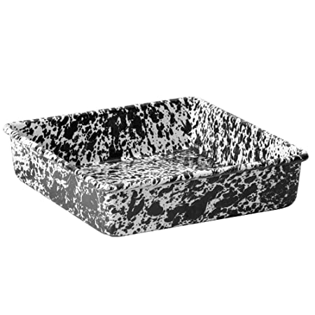 Enamelware Square Brownie Pan, 9 inch, Black White Splatter