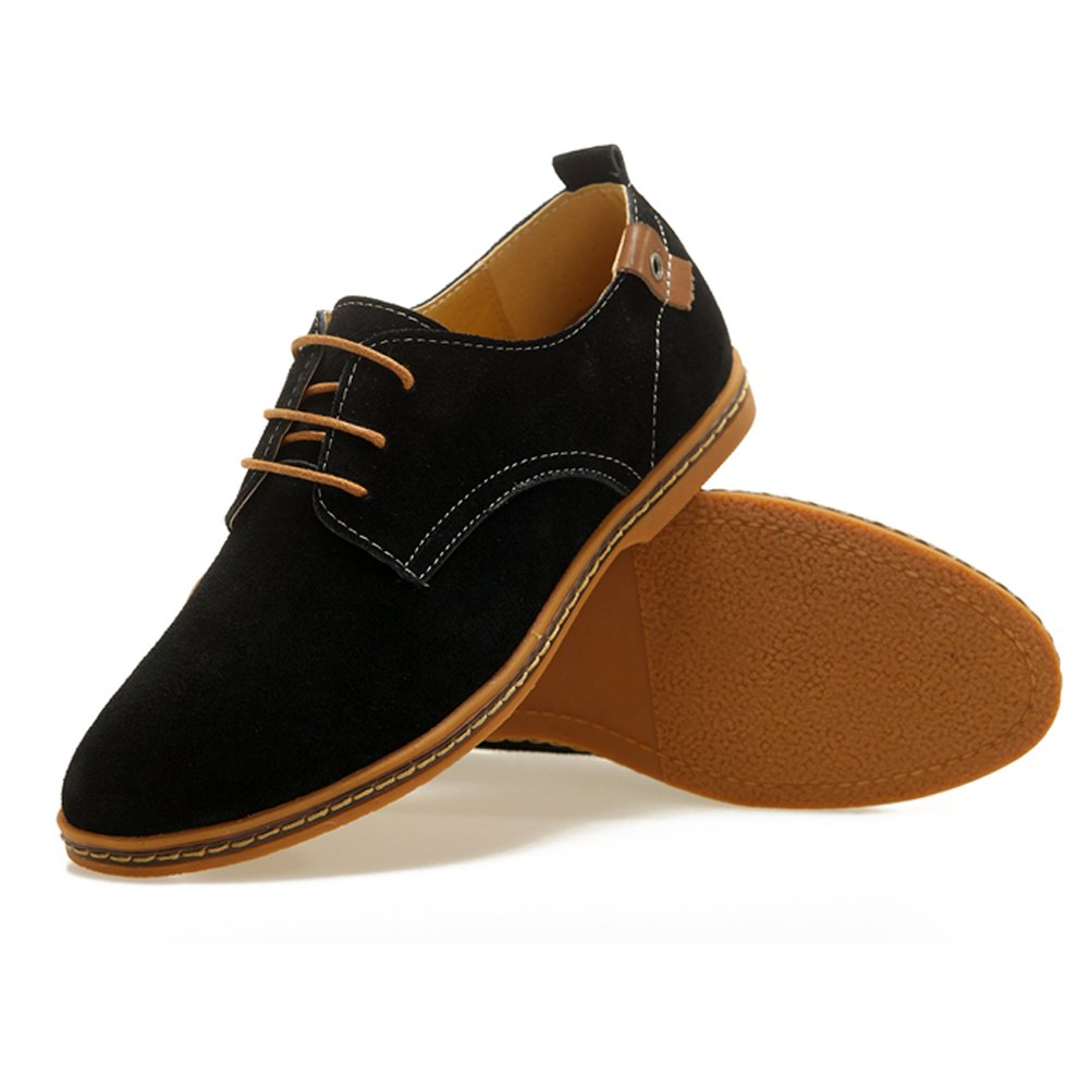 Serene Men's Casual Leather Lace up Soft Breathable Fashion Oxfords (14D(M) US, Black)