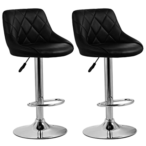 Prime Homfa 2 X Bar Stool Breakfast Kitchen Stools Faux Leather Barstools Adjustable Swivel Stools Chairs With Backs Seat Height 61 93Cm Black 437 Inzonedesignstudio Interior Chair Design Inzonedesignstudiocom