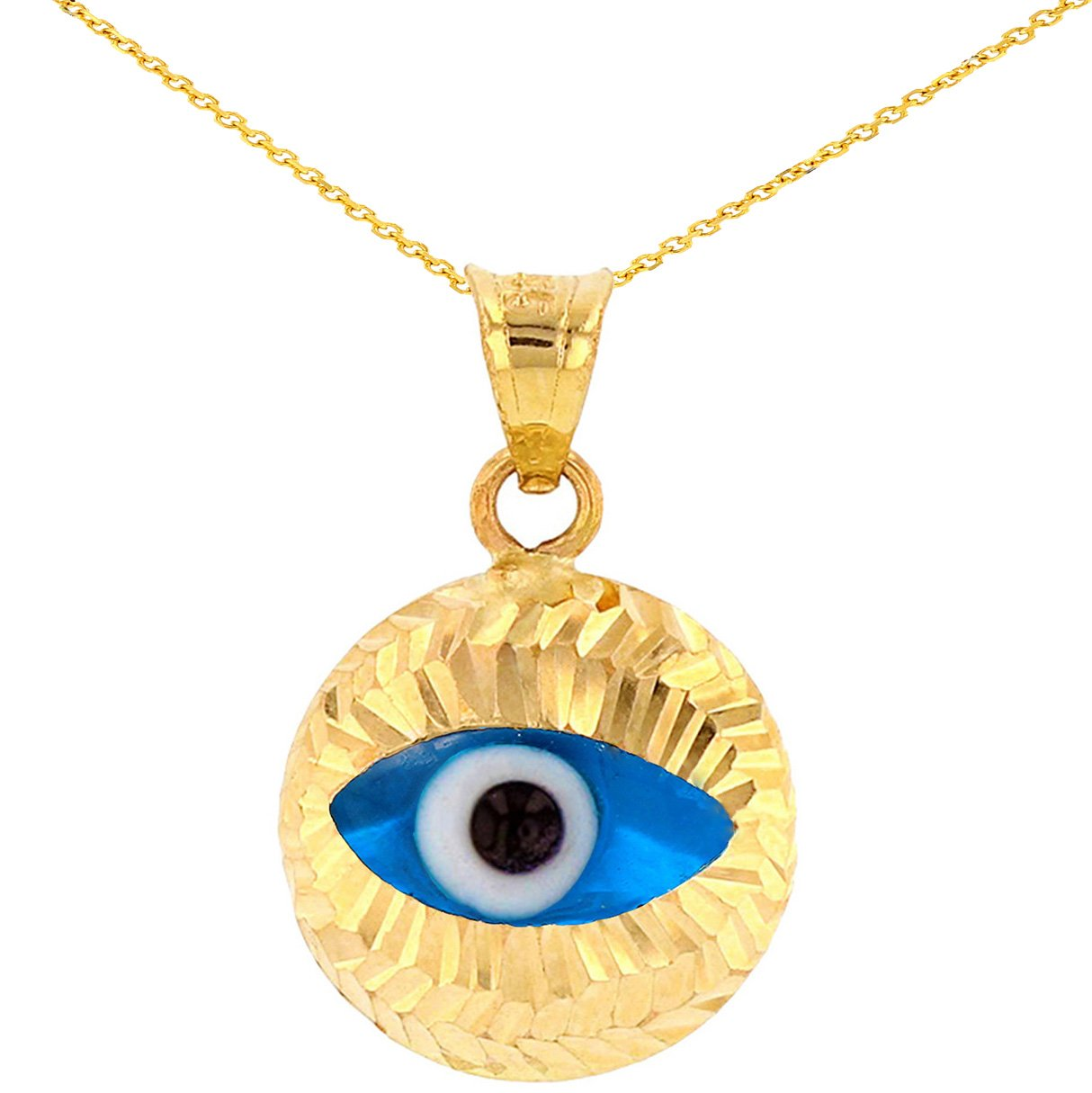 Textured 14k Gold Simple Blue Evil Eye Pendant Necklace, 16'' by JewelryAmerica