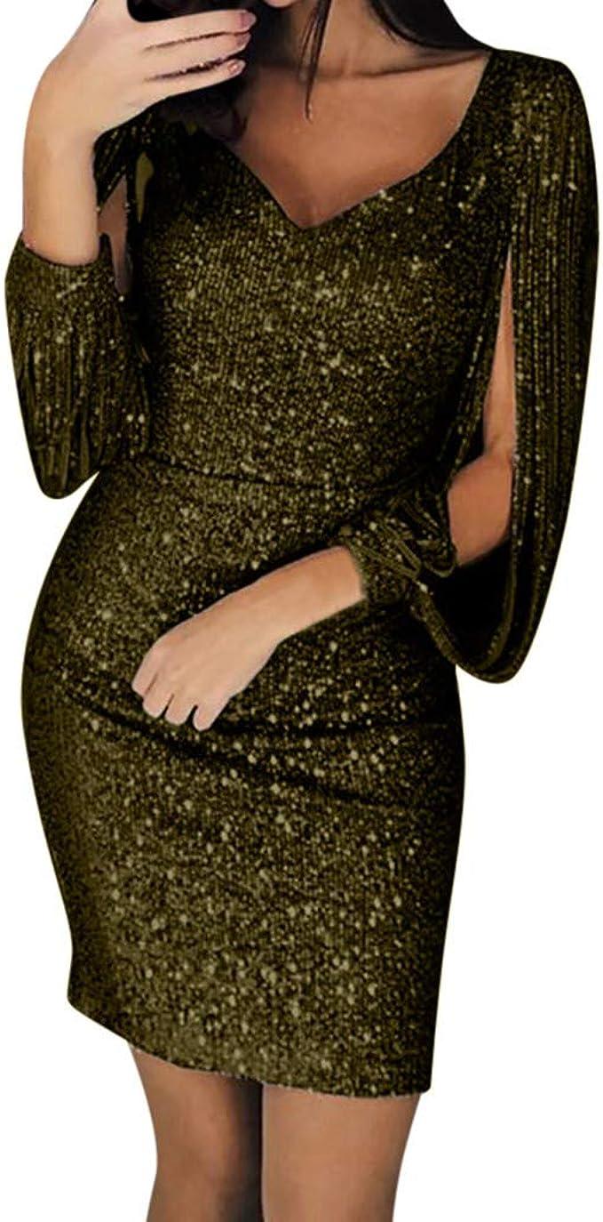 AmyGline Damen Kleider Sexy Pailletten Kleid Ballkleid Brautjungfer Kleid  V-Ausschnitt Langes Kleid Gold Abendkleid Split Maxikleid Lange Abendkleid