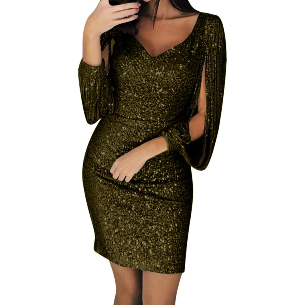 Women Sequin V-Neck Stitching Shining Club Sheath Long Sleeved Mini Dress Ladies Bodycon Cocktail Party Dress (S, Army Green)