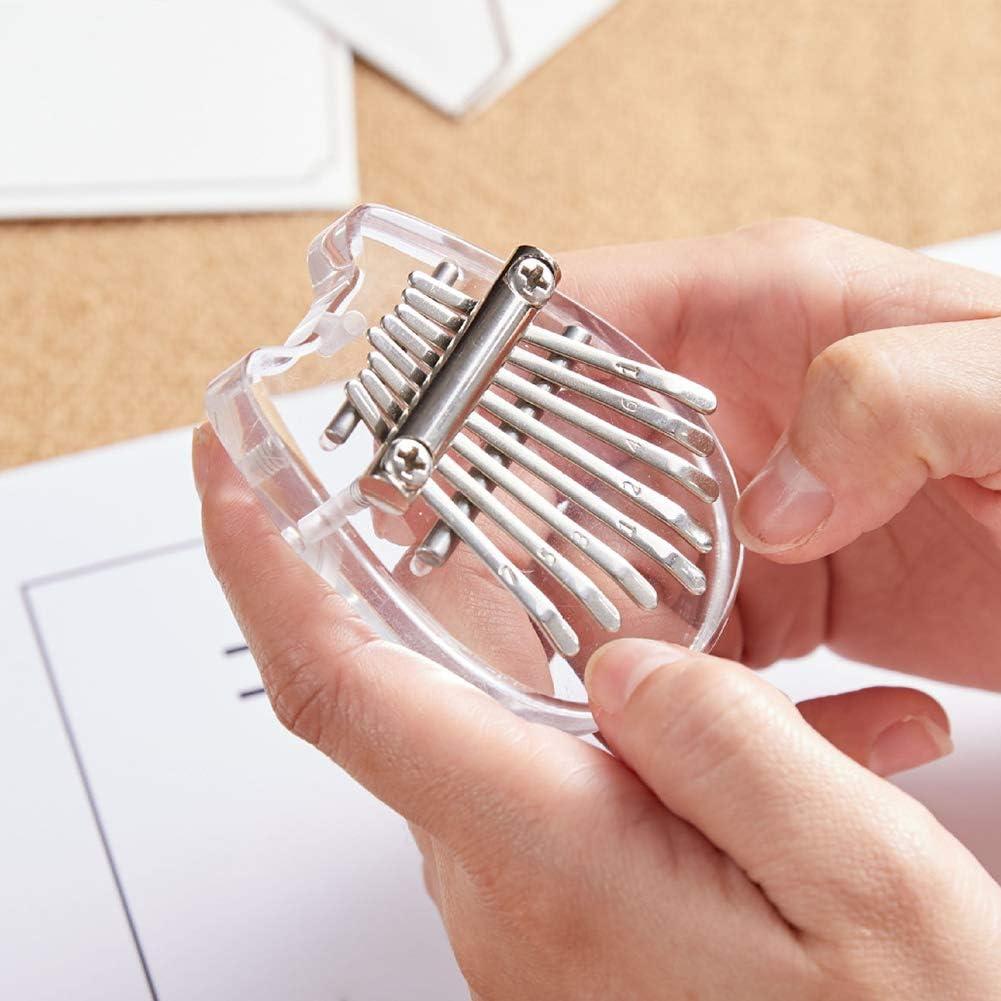 Portable 8 Keys Cute Mini Kalimba Beginner Musical Instrument Transparent Acrylic Handheld Keyboard Pocket Finger Pendant QIND Mini Thumb Piano