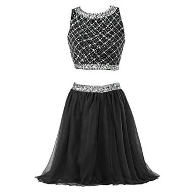 Callmelady Two Piece Homecoming Dresses For Juniors Short Prom Dresses For Women (Black, US2