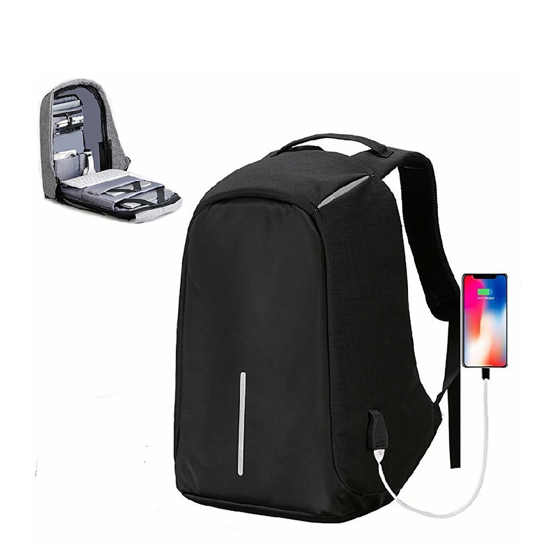 450cd84e04 University Trendz Anti Theft Multi-Functional Oxford Casual Laptop Backpack  With Usb Charge Waterproof Travel Backpack - Black  Amazon.in  Bags