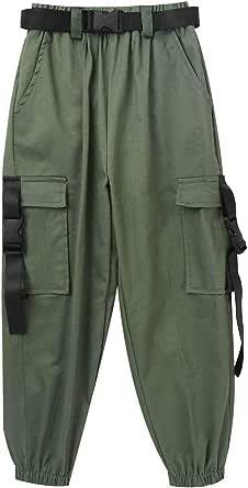 Aislor Pantalones Cargo para Niños Tapered Pantalones con Bolsillos Faja de Algodón Color Puro Pantalones de Chandal Hip Hop Cargo Pants Moda Callejera Urbana
