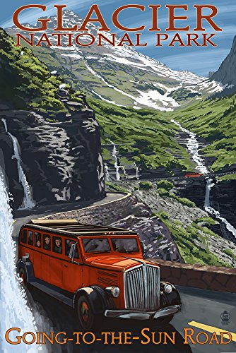 Glacier National Park - Going-To-The-Sun Road (12x18 Art Print, Wall Decor Travel (Vintage Road Map)