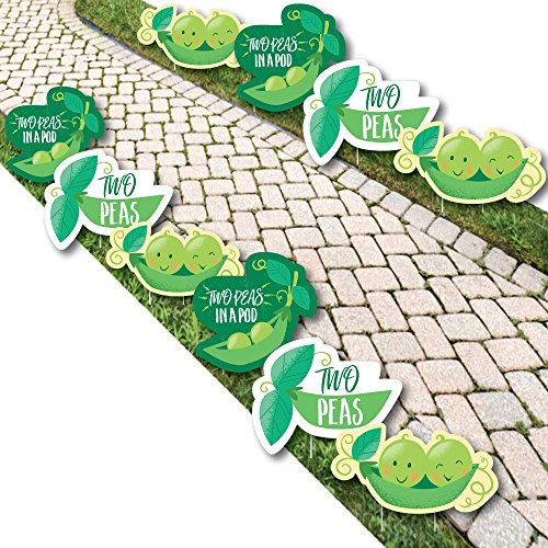 Double The Fun - Twins Two Peas in a Pod - Pea Pod Lawn Decorations - Outdoor Baby Shower or First Birthday Party Yard Decorations - 10 Piece