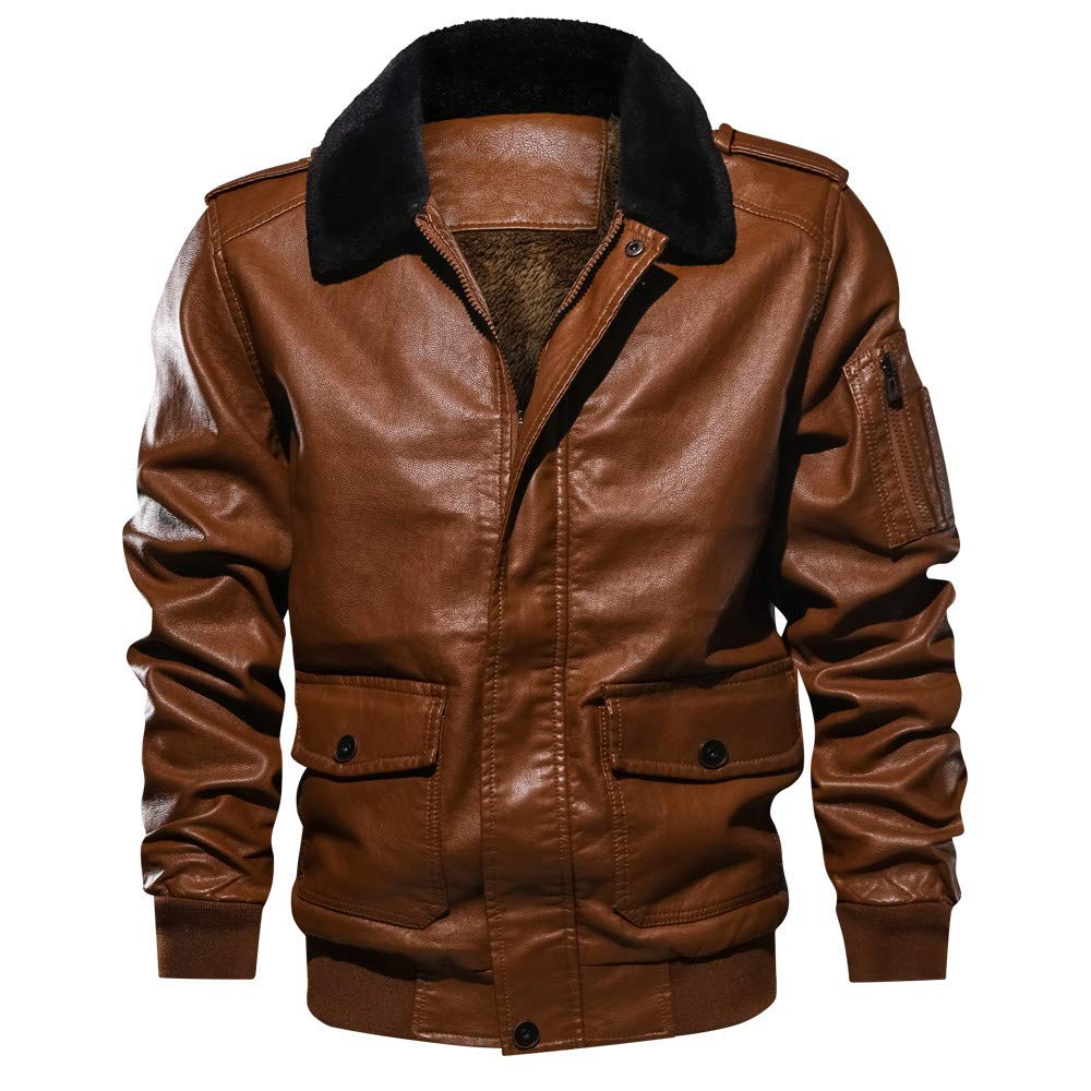 Mens Fur Coat Big and Tall.Men's Lapel Fur Collar Leather Pocket Flying Jacket Tactical Outwear Coat